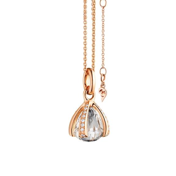 """Anhänger """"Capriccio"""" 750RG, Bergkristall facettiert Ø 12.0 mm ca. 10.00ct, 32 Diamanten Brillant-Schliff 0.39ct TW/vs"""