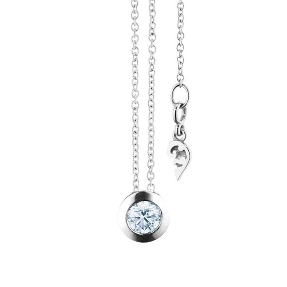 """Collier """"Diamante in Amore"""" 750WG Zargenfassung, 1 Diamant Brillant-Schliff 0.25ct TW/vs1, Länge 45.0 cm, Zwischenöse bei 42.0 cm"""