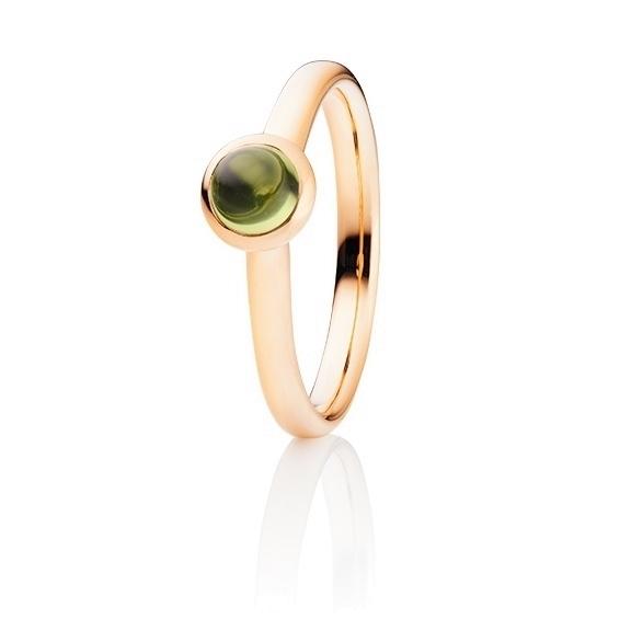 "Ring ""Tutti Frutti"" 750RG, Peridot Cabochon Ø 5.0 mm ca. 0.60ct"