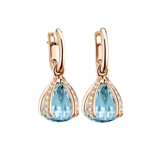 "Ohrcreolen ""Capriccio"" 750RG, Topas sky blue, 28 Diamanten Brillant-Schliff 0.44ct TW/vs"