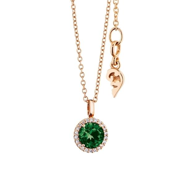 """Anhänger """"Espressivo"""" 750RG, Turmalin grün facettiert Ø 6.0 mm, 22 Diamanten Brillant-Schliff 0.06ct TW/si"""