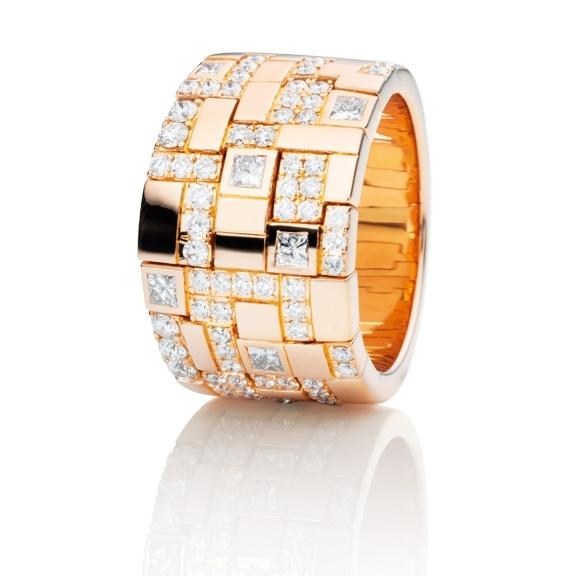 "Ring ""Palazzo"" 750RG, 6 Diamanten Princess-Schliff 0.35ct TW/vs, 66 Diamanten Brillant-Schliff 0.80ct TW/vs"