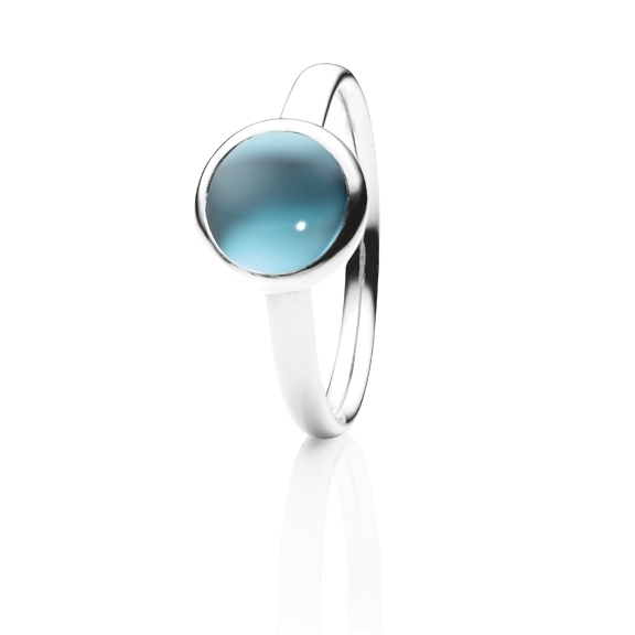 "Ring ""Velluto"" 750WG, Topas sky blue Cabochon Ø 8.0 mm ca. 3.00ct"