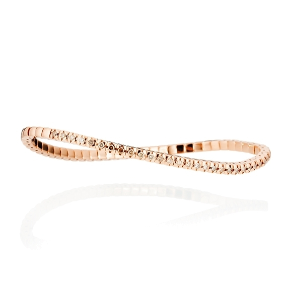 "Armband ""Flessibile"" 750RG, 33 Diamanten Brillant-Schliff 0.85ct light brown, Innenumfang 16.5 cm"