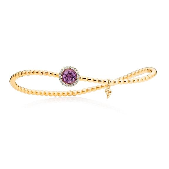"Armband ""Espressivo"" 750GG, Amethyst facettiert Ø 6.0 mm, 22 Diamanten Brillant-Schliff 0.06ct TW/si1, Innenumfang 17.0 cm"