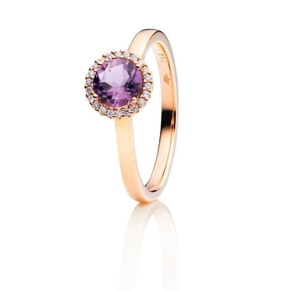 "Ring ""Espressivo"" 750RG, Amethyst medium facettiert Ø 6.0 mm, 22 Diamanten Brillant-Schliff 0.06ct TW/si"