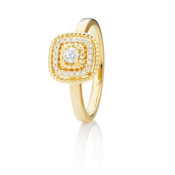 "Ring ""Amore mio"" 750GG, 21 Diamanten Brillant-Schliff 0.18ct TW/si"