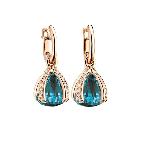 """Ohrcreole """"Capriccio"""" 750RG, Topas London blue ca. 14.50ct, 28 Diamanten Brillant-Schliff 0.44ct TW/vs"""