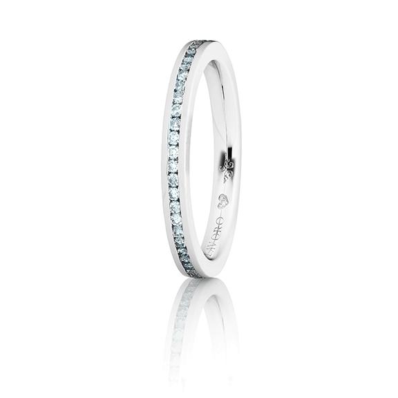 """Memoirering """"Diamante in Amore"""" 750WG, 28 Diamanten Brillanten-Schliff 0.20ct TW/vs1, 1 Diamant Brillant-Schliff 0.005ct TW/vs1"""