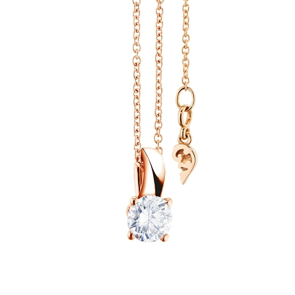 "Collier ""Diamante in Amore"" 750RG, 1 Diamant Brillant-Schliff 0.50ct TW/vs1 GIA Zertifikat, Länge 45.0 cm"