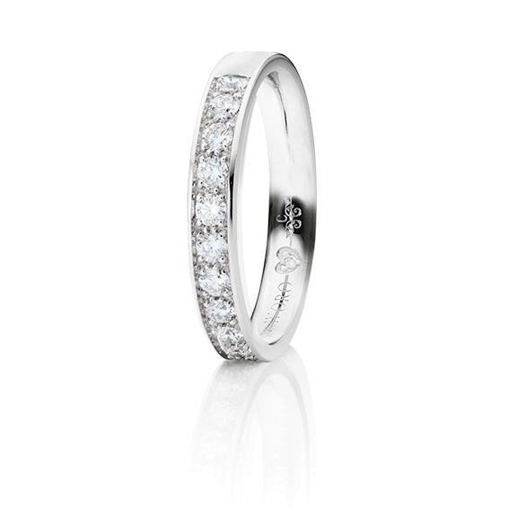 """Memoirering """"Diamante in Amore"""" 750WG Fadenfassung, 13 Diamanten Brillant-Schliff 0.50ct TW/vs1, 1 Diamant Brillant-Schliff 0.005ct TW/vs1"""