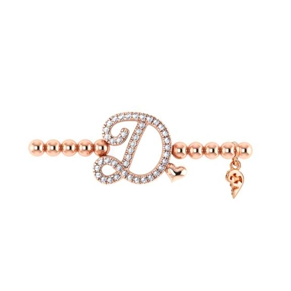 "Armband ""Poesia"" 750RG, Buchstabe ""D"", 42 Diamanten Brillant-Schliff ca. 0.15ct TW/vs1, Innenumfang 17.0 cm"