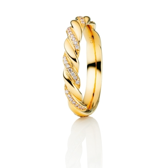 "Ring ""Fantasia"" 750GG, gedreht, 42 Brillanten 0,15ct TW/si, Ø 3,5mm"