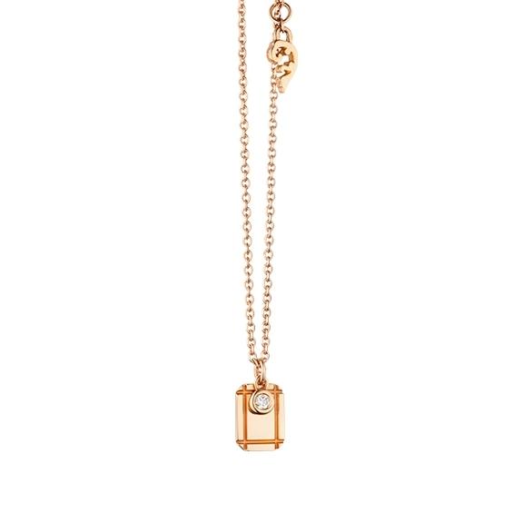 """Collier """"Poesia"""" 750RG, mit einem personalisierbaren rechteckigen Tag und einem beweglichen Diamant in Zargenfassung 0.025ct TW/vs1, Ankerkette Ø 0.9 mm, Länge 41.0 cm, Zwischenöse bei 38.0 cm"""
