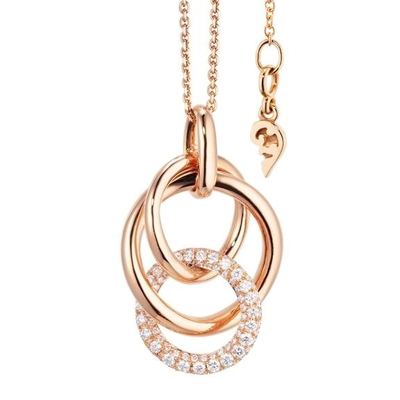 """Collier """"Cielo"""" 750RG, 94 Diamanten Brillant-Schliff 0.70ct TW/vs1, Länge 50.0 cm mit Zwischenöse bei 45.0 cm"""