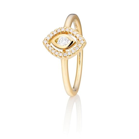 "Ring ""Glam Motion"" 750GG, 1 Diamant Brillant-Schliff 0.075ct TW/si, 22 Diamanten Brillant-Schliff 0.065ct TW/si"