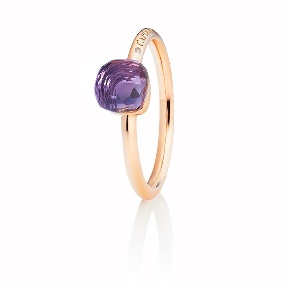 "Ring ""Happy Holi"" 750RG, Amethyst medium Cabochon  6.0 x 6.0 mm facettiert ca. 1.20ct, 1 Diamant Brillant-Schliff 0.004ct TW/vs1"