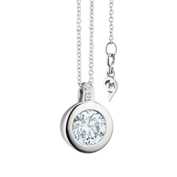 "Collier ""Diamante in Amore"" 750WG Zargenfassung, Brillantöse, 1 Diamant Brillant-Schliff 0.75ct TW/vs1 GIA Zertifikat, 5 Diamanten Brillant-Schliff 0.02ct TW/vs1, Länge 45.0cm, Zwischenöse bei 42.0cm"