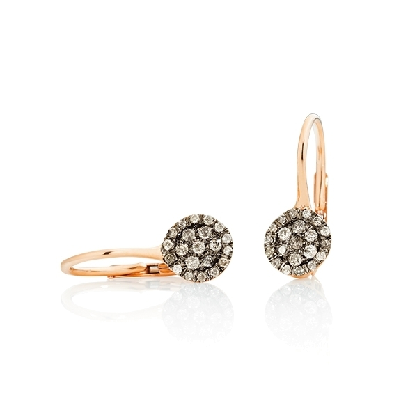 """Ohrhänger """"Dolcini"""" 750RG, 42 Diamanten Brillant-Schliff 0.20ct light brown"""