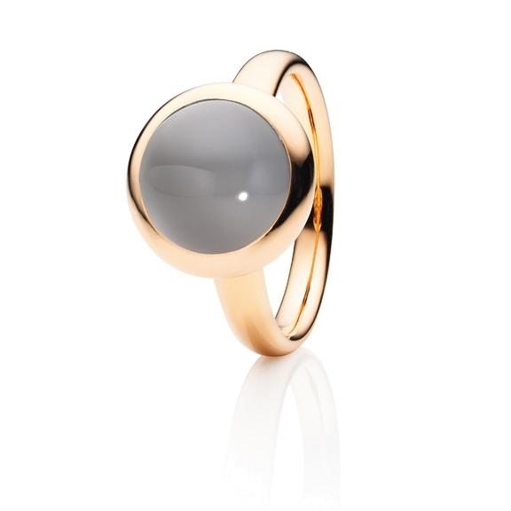 "Ring ""Velluto"" 750RG, Mondstein grau hell Cabochon Ø 11.0 mm ca. 4.5ct"