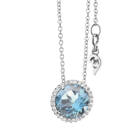 "Anhänger ""Espressivo"" 750WG, Topas sky blue facettiert Ø 9.0 mm, 28 Diamanten Brillant-Schliff 0.14ct TW/si"