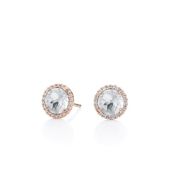 """Ohrstecker """"Espressivo"""" 750RG, Bergkristall facettiert Ø 6mm, 44 Diamanten Brillant-Schliff 0.16ct TW/si"""