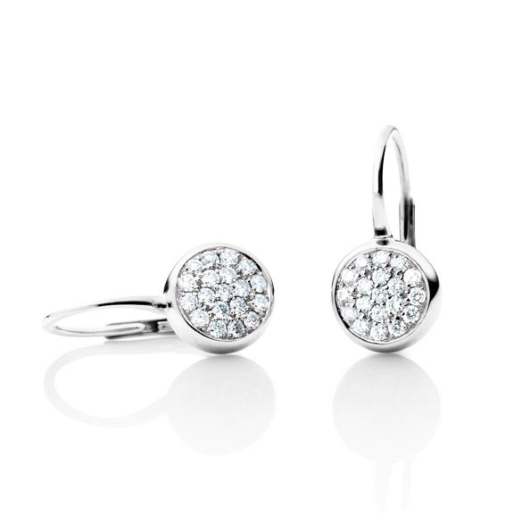 "Ohrhänger ""Dolcini"" 750WG, 38 Diamanten Brillant-Schliff 0.20ct TW/vs1"