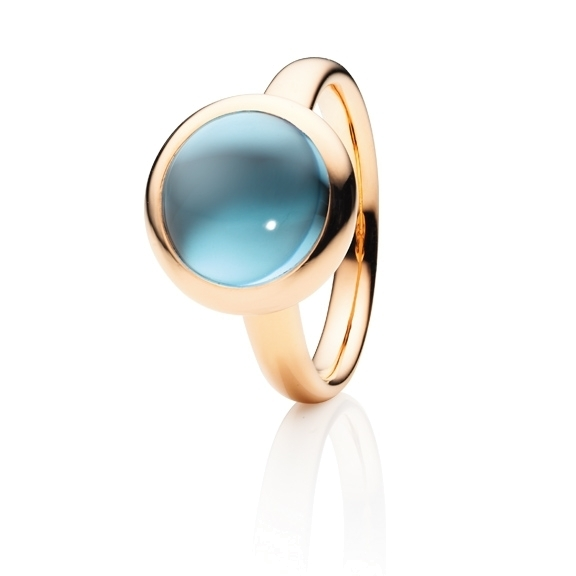 "Ring ""Velluto"" 750RG, Topas sky blue Cabochon Ø 11.0 mm ca. 6.0ct"