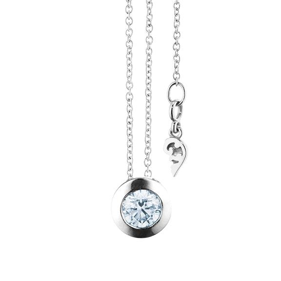 """Collier """"Diamante in Amore"""" 750WG Zargenfassung, 1 Diamant Brillant-Schliff 0.40ct TW/vs1, Länge 45.0 cm, Zwischenöse bei 42.0 cm"""