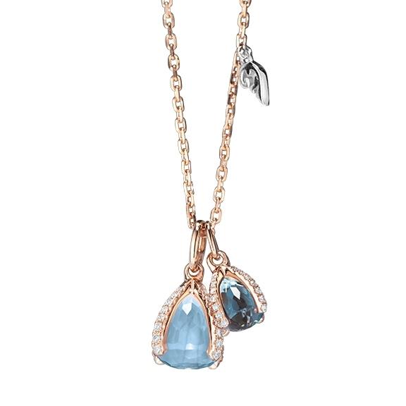 """Collier """"Capriccio """" 750RG, 1 Topas sky blue facettiert Ø 7.9 mm, 1 Topas London blue facettiert Ø 5.8 mm, 61 Diamanten Brillant-Schliff 0.28ct TW/vs1, 45.0 cm"""
