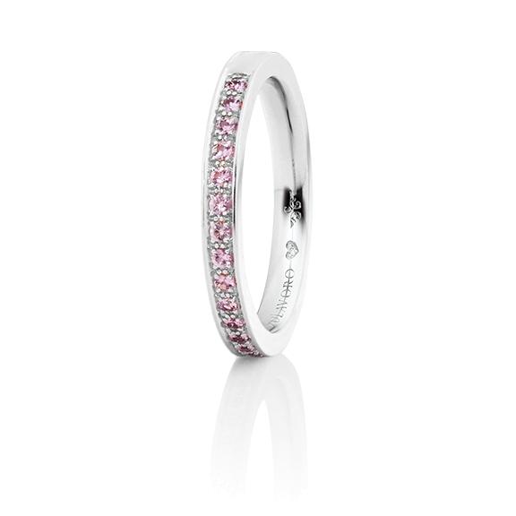 """Memoirering """"Diamante in Amore"""" 750WG Fadenfassung, 19 Saphir pink Pastell Light facettiert ca. 0.25ct, 1 Diamant Brillant-Schliff 0.005ct TW/vs1"""
