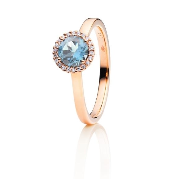 "Ring ""Espressivo"" 750RG, Topas sky blue facettiert Ø 6.0 mm, 22 Diamanten Brillant-Schliff 0.08ct TW/si"