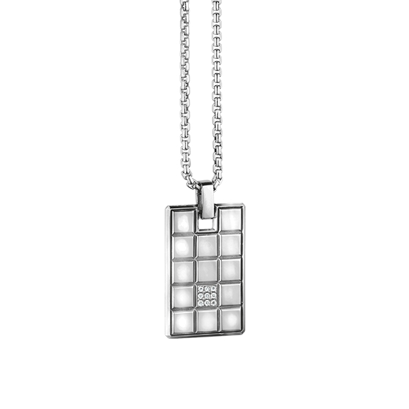 "Anhänger ""Rocks"" 750WG, 9 Diamanten Brillant-Schliff 0.05ct TW/vs1"