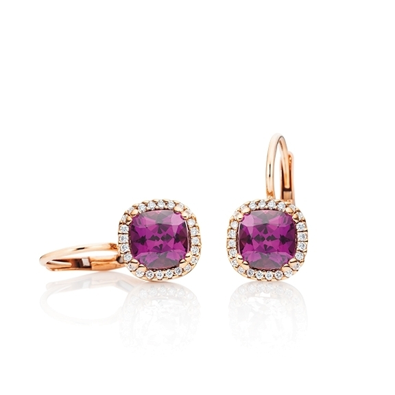 "Ohrhänger ""Espressivo"" 750RG, Granat Royal Purple antik 6.0 x 6.0 mm ca. 2.00ct, 48 Diamanten Brillant-Schliff 0.14ct TW/si"