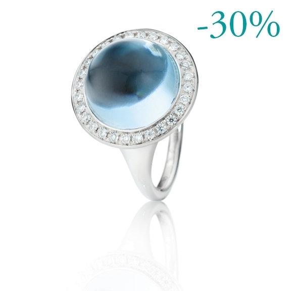"Ring ""Lucido"" 750WG Topas sky blue Cabochon Ø 13.5 mm ca. 11.00ct, 28 Diamanten Brillant-Schliff 0.33ct TW/vs"