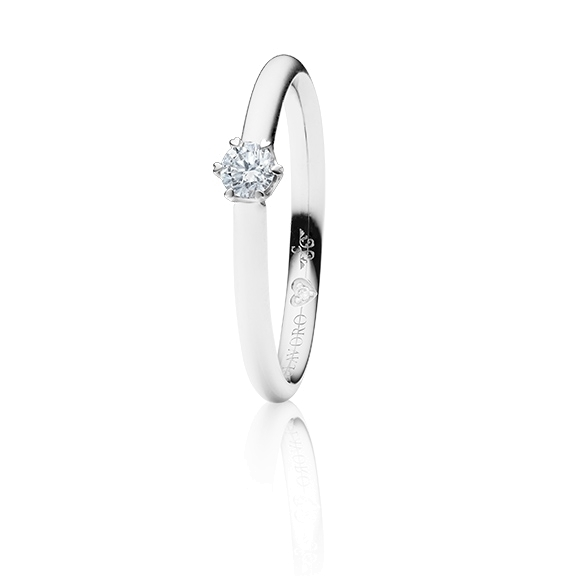 "Ring ""True Love"" 750WG 6-er Krappe mit seitl. RG-Herz, 1 Diamant Brillant-Schliff 0.20ct TW/vs1,  1 Diamant Brillant-Schliff 0.005ct TW/vs1"
