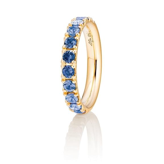 "Ring ""Rainbow"" 750GG, 11 Saphire blau facettiert ca. 1.50ct"