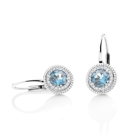 "Ohrhänger ""Amore mio"" 750WG, Topas sky blue facettiert Ø 4.0 mm, ca. 0.70ct, 32 Diamanten Brillant-Schliff 0.10ct TW/si"