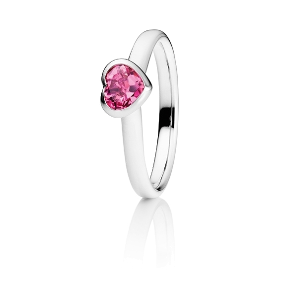"Ring ""Pure Love"" 750WG Herz, Turmalin pink facettiert 5.6 x 4.8 mm ca. 0.5ct"