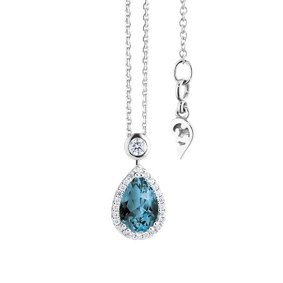 """Collier """"Espressivo"""" 750WG Topas London blue Tropfen 9.0 x 6.0 mm ca. 1.65ct, 26 Diamanten Brillant-Schliff 0.20ct TW/si, Länge 45.0 cm Zwischenöse bei 42.0 cm"""