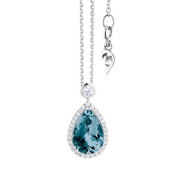 """Collier """"Espressivo"""" 750WG Topas London blue Tropfen 12.0 x 8.0 mm ca. 3.75ct, 31 Diamanten Brillant-Schliff 0.22ct TW/si, Länge 45.0 cm Zwischenöse bei 42.0 cm"""