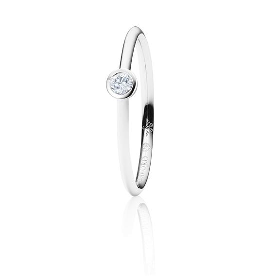 """Ring """"Diamante in Amore"""" 750WG Zargenfassung, 1 Diamant Brillant-Schliff 0.10ct TW/vs1, 1 Diamant Brillant-Schliff 0.005ct TW/vs1"""