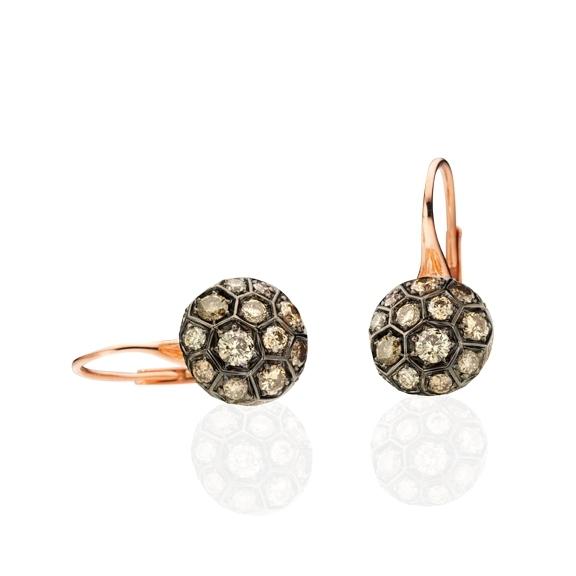 "Ohrhänger ""Fiore Magico"" 750RG Carreaufassung, 44 Diamanten Brillant-Schliff 1.08ct natural light brown"