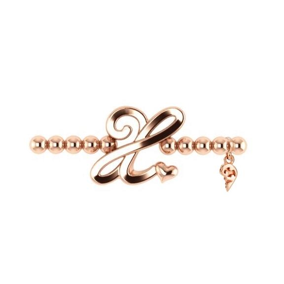 "Armband ""Poesia"" 750RG, Buchstabe ""X"", Innenumfang 17.0 cm"