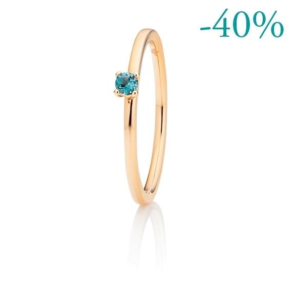 "Ring ""Fantasia"" 750RG Topas London blue facettiert Ø 2.5 mm ca. 0.10ct"