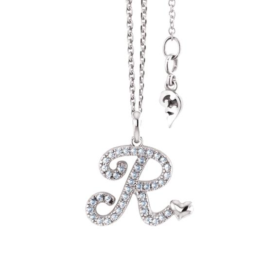 """Anhänger """"Poesia"""" 750WG, Buchstabe """"R"""", 42 Diamanten Brillant-Schliff 0.17ct TW/vs"""
