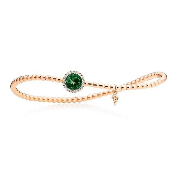 "Armband ""Espressivo"" 750RG, Turmalin grün facettiert Ø 6.0 mm, 22 Diamanten Brillant-Schliff 0.06ct TW/si, Innenumfang 17.0 cm"