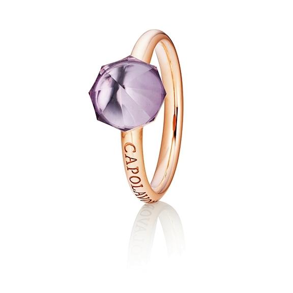 "Ring ""My Sunshine"" 750RG, Amethyst Cabochon facettiert  8.90 x 8.90mm ca. 2.00ct, 1 Diamant Brillant-Schliff 0.004ct TW/vs1"