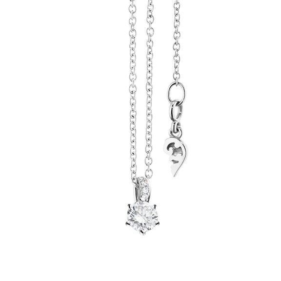 "Collier ""Diamante in Amore"" 750WG 6-er Krappe, Brillantschlaufe, 1 Diamant Brillant-Schliff 0.20ct TW/vs1, 5 Diamanten Brillant-Schliff 0.01ct TW/vs1, Länge 45.0 cm, Zwischenöse bei 42.0 cm"