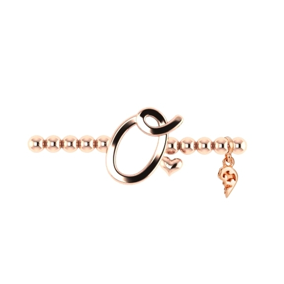 "Armband ""Poesia"" 750RG, Buchstabe ""O"", Innenumfang 17.0 cm"